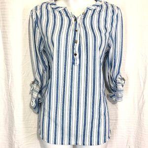 EDEN & OLIVIA Half Button Knit Top Shirt Blue~sz M